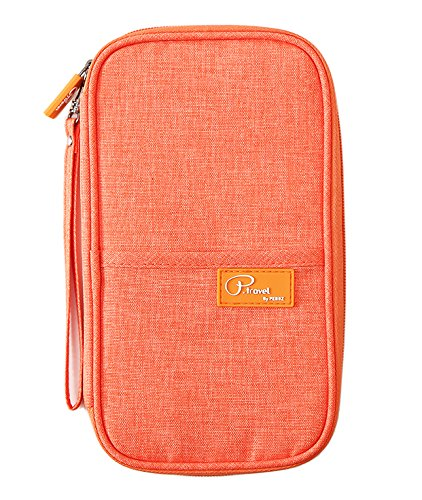 P.travel Passport Wallet Passport Holder Travel Document Organizer with 2 x RFID sleeves (Orange)
