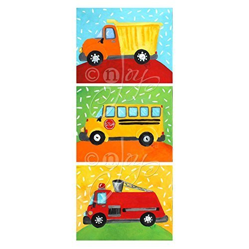 3 Truck Prints for kids room decor by nJoyArt. Prints of colorful original paintings of a fire engine, school bus & dump truck by nJoy Art. Fire Truck Painting