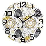 DOPKEEP Champagne Greyhound Dogs Wall Clock Oil Painting Quotes Round Acrylic Decorative Indoor Kitchen Clock,Battery Operated Clocks