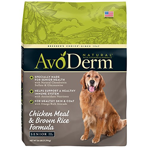 AvoDerm Natural Senior Chicken Meal & Brown Rice Formula Dry Dog Food, 26-Pound