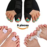 Lejero Bunion Corrector Kit for Men & Women - 6pcs Gel Toe Separators & Orthopedic Bunion Splint, Hallux Valgus Brace, Bunion Cushions & Pad, Toe Spacers, Tailors Bunion Corrector for Girls (Medium)