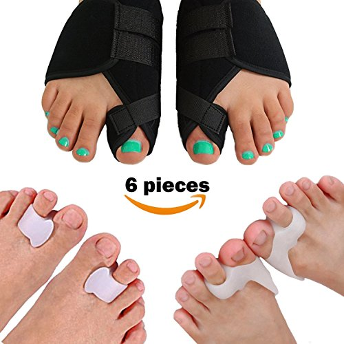 Lejero Bunion Corrector Kit for Men & Women – 6 pcs Orthopedic Splint & Soft Gel Toe Separators for Pain Aid, Hallux Valgus, Day & Night Toe Straightener – DiZiSports Store