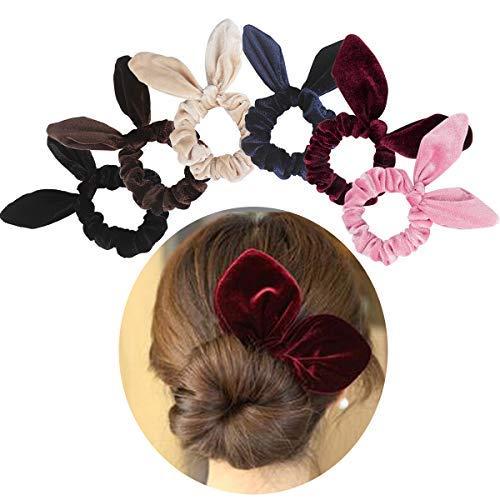 Jaciya 6 Pack Hair Scrunchies Velvet Elastic Hair Bands Scrunchy Hair Ties Ropes Scrunchies for Women or Girls Hair Accessories, Rabbit Ear Scrunchie