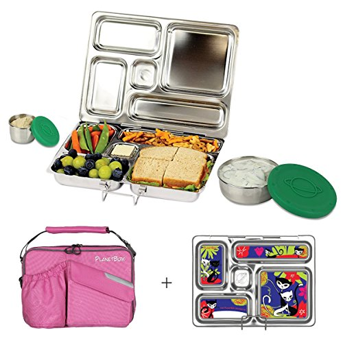 PlanetBox ROVER Eco-Friendly Stainless Steel Bento Lunch Box with 5 Compartments for Adults and Kids - Pink Carry Bag with Retro Kitty Magnets Metal Lunch Boxes For Kids