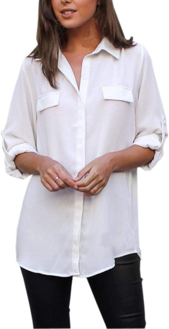Dream_Mimi - Camisa de Gasa para Mujer, Estilo Casual, de Manga Larga, Estilo Casual, de Manga Larga, Estilo Casual, con Botones Sueltos: Amazon.es: Electrónica