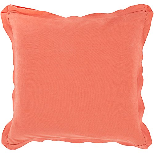 Surya TF010-1818D Down Fill Pillow, 18-Inch by 18-Inch, Coral ()