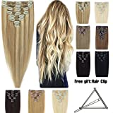 Double Weft 100% Remy Human Hair Clip in Extensions 10''-22'' Grade 7A Quality Full Head Thick Long Soft Silky Straight 8pcs 18clips for Women Beauty