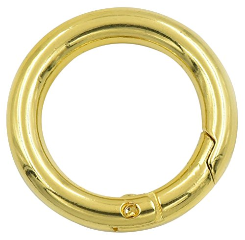 Gracefulvara 5PCS Portable Mini Circle Carabiner Spring Clip Hook Keychain (Gold, S)