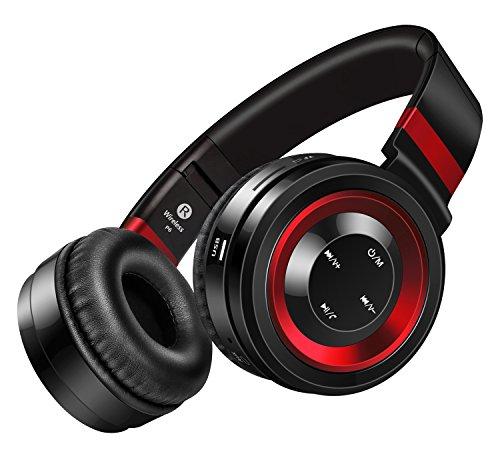 Sound Intone P6 Bluetooth 4.0 Drahtlose Stereo Kopfhörer, Hi-Fi Klanqualität, Rauschunterdrückung, mit eingebautem Mikrofon und Lautstärkeregler, Audio-Kabel kompatibel für viele Audiogeräten (Schwarz/Rot)