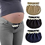 Yi Zhou Maternity Clothing for Women Pregnancy Waistband Extender/Pregnancy Belly Band Jeans 3 Pices Black