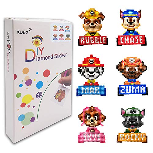 XUBX 5D DIY Diamond Painting Kits for Kids, Mosaic Sticker by Numbers Kits Arts and Crafts Set for Children (Dog)