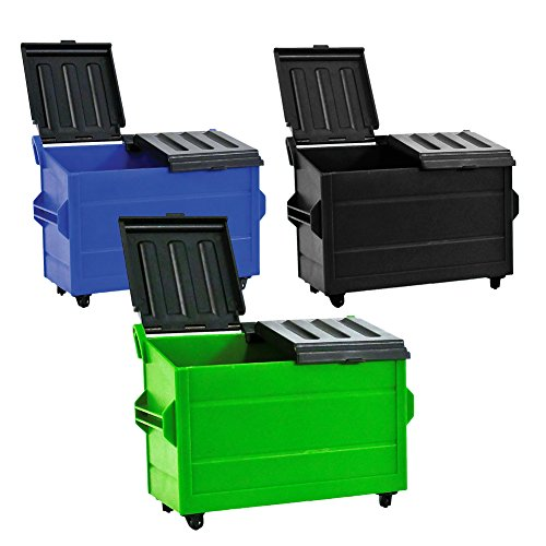 Set of 3 Dumpster's for WWE Wrestling Action Figures: Blue, Black & Green by Figures Toy Company