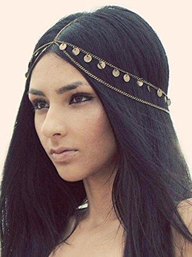 Aegenacess Gold Hair Chain Boho Alloy Coins Egyptian Hair Jewelry Hippie Festival Prom Wedding Headpiece Spring Summer Christmas Head Accessory