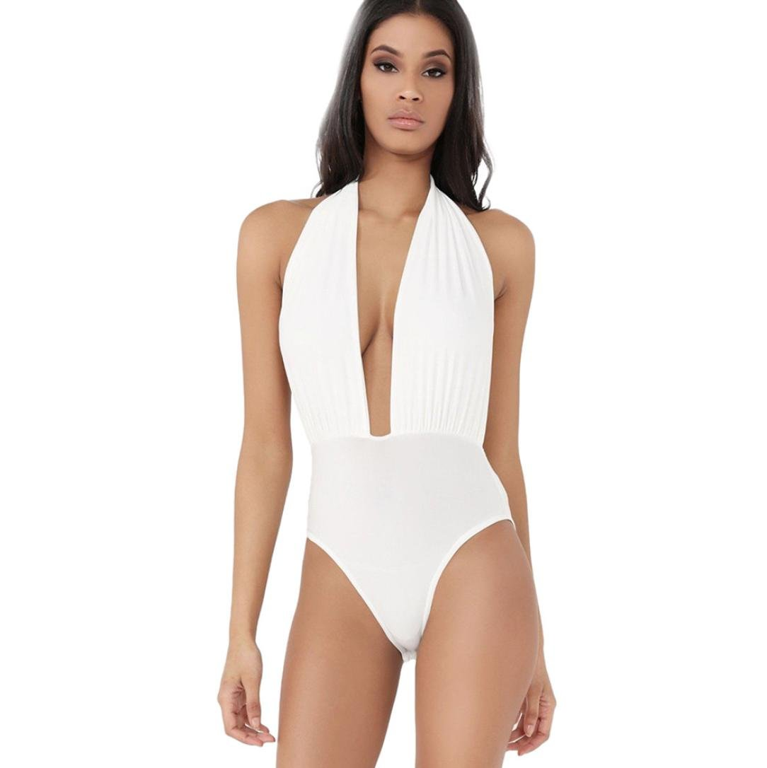 Inverlee Women Plunge Halter Neck Backless Stretch Bodysuit Bikini Bathing Swimwear (White, L)
