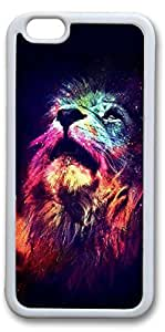 iPhone 6 Cases, Lion Head Personalized Custom Soft TPU White Edge Case Cover for New iPhone 6 4.7 inch