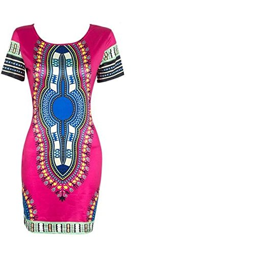 FORUU Mini Dresses for Womens,2019 Summer Newest Arrival Ladies Traditional African Print Dashiki Bodycon Sexy Short Sleeve Best Gift for Brithday Mother Lover Daughter Girls Teen Hot Pink (Best African Fashion Dresses)