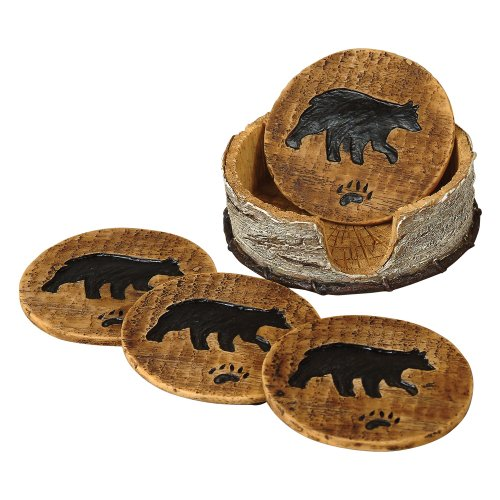 - Bear and Birch Lodge Coaster Set - 5 pcs - Wilderness Dining Tableware