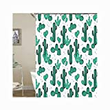 Aooaz Shower Curtain Eco-Friendly Plastic Hook Cactus1 Polyester Shower Curtain White Green 180X200Cm