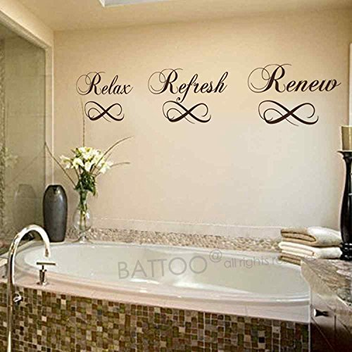 BATTOO Relax Refresh Renew Bathroom Vinyl Wall Decal Bathtub Wall Sticker Home Decor(black,8&#82 ...
