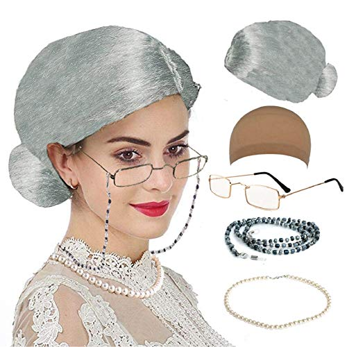 Old Lady Cosplay Set - Grandmother Wig, Wig Cap,Madea Granny Glasses, Eyeglass Chains Cords Strap, Pearl Beads (Style-7) ()