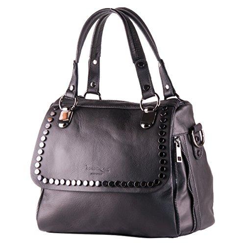 BORDERLINE - 100% Made in Italy - Exclusivo bolso suave de la mujer del cuero genuino con tachuelas - JESSICA Negro Nuevo