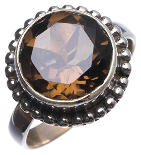 - Natural Smoky Quartz Handmade Indian 925 Sterling Silver Ring, US Size 6 T7342