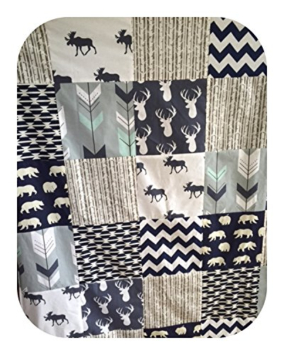 Moose and Tomahawk Boy Crib Patchwork Blanket in Mint, Gray and Navy by Cobalt and Coral by Cobalt & Coral