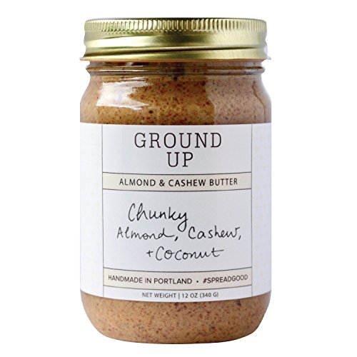 Ground Up Gluten Free, Peanut Free, Dairy Free, Handmade Almond and Cashew Chunky Nut Butter. With Almonds, Cashews, and Coconut: All Real, Clean Ingredients with No Additives