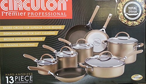 Circulon Circulon Premier Professional 13-piece Hard-anodized Cookware Set Bronze Exterior Stainless Steel - Glasses From Costco
