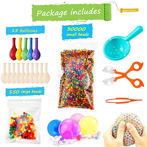 Water Beads Pack (30000 Small Water Beads /150 Large Jumbo Water beads/15 Balloons) Mixed Jelly Beads Water Gel Balls,Sensory Toys and Decoration ()