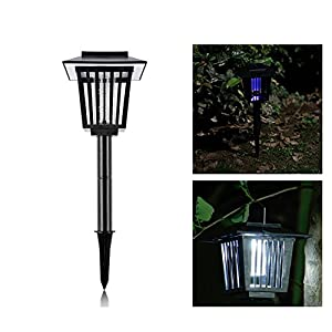 Vexverm Solar Insect Zapper, LED Mosquito Bug killer - Insect Bug Worm Zapper- Hang or Stake in the Ground - Cordless Garden Lamp- Best Stinger for Mosquitoes/Moths/Flies - Black
