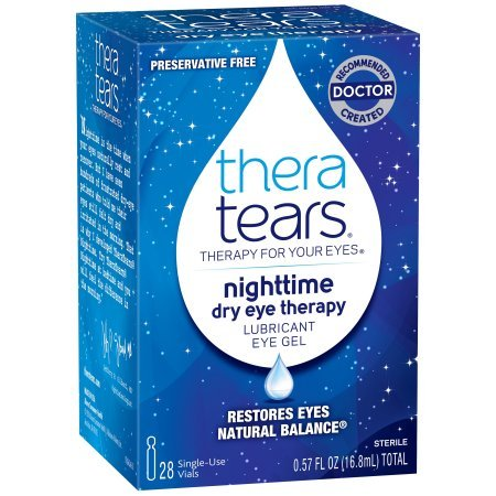 TheraTears Nighttime Dry Eye Therapy- Lubricant Eye Gel- Preservative Free, Special 2 Pack ( Total 56 Single Count ) Thera-Ap