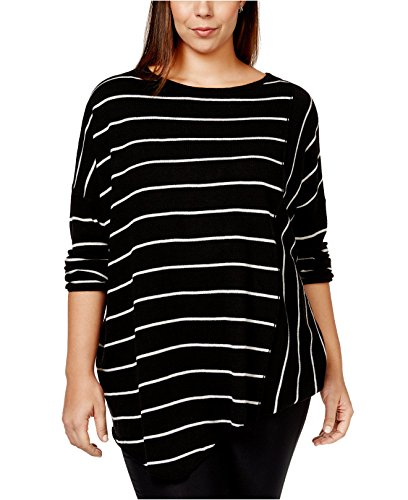 INC International Concepts Women's Plus Size Striped Asymmetrical-Hem Sweater (0X/1X, Deep Black) (Inc Concepts Clothing compare prices)