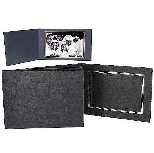 Black Cardstock Paper Portrait Folder 10x8 Frame w/gold foil border sold in 25s - landscape - 8x10 -  SendAFrame, PF5500-108h