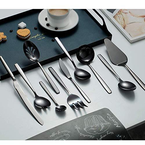 Berglander Black Silverware Serving Set 10 Pieces, Stainless Steel Flatware Serving Set With Black Titanium Plating, Silver Serving Utensil, Anti Rust (10 Pieces)