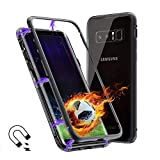 Galaxy Note 8 Case, Magnetic Adsorption Flip Cover Case, Metal Frame Hard Clear Tempered Glass (Samsung Galaxy Note 8, Black)