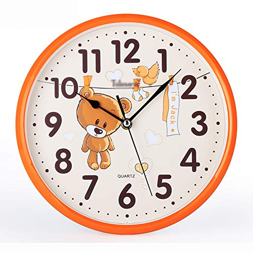 GFEI Wall Clock,Non-Ticking Children's Décor Wall Clock,Silent Non-Ticking Quartz Decorative Wall Clock, PVC Dial,Glass Surface,Metal Pointer,orangebear,10in(25.5cm) from GFEI