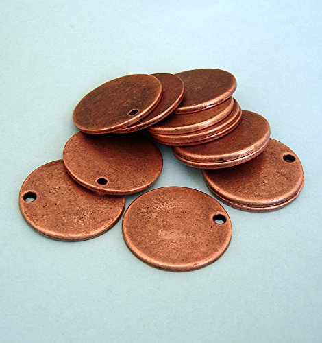 BeadsTreasure 10 Pcs- Light Antiqued Copper Plated Flat Disc Stamping Blanks Tag Charms Round for Jewelry Making. - Hammered Copper Disc