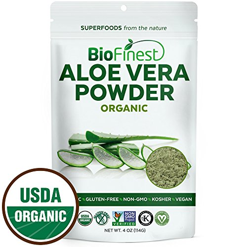 BioFinest Aloe Vera Powder (Aloe barbadenis) - 100% Pure Antioxidants Superfood - USDA Certified Organic Kosher Vegan Raw Non-GMO- Skin Health Hair Care - For Smoothie Beverage (4 oz Resealable Bag)