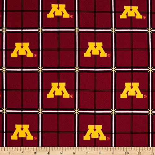 Sykel Enterprises NCAA University of Minnesota Gophers Flannel Plaid Red Fabric by The Yard,