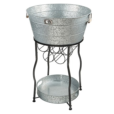 All-In-One Beverage Serving Station Galvanized Steel Party Station 30 gal. Ice Bucket Cooler Stand With Wine Rack