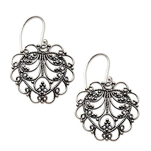 NOVICA .925 Sterling Silver Filigree Heart-Shaped Dangle Hook Earrings, Valentine Vine'