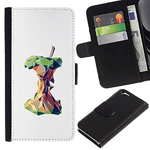 KingStore / Leather Etui en cuir / Apple Iphone 6 / Polígono Arte blanco profundo Significado;
