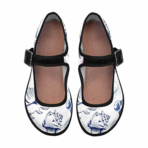Multi Casual Walking 13 Flats Womens Comfort Mary Jane InterestPrint Shoes X1wH84qxO