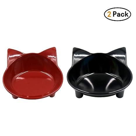 Lefu 2 Piezas de Comida para Mascotas del Gato, Plato de ...