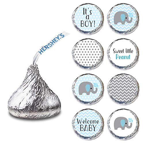Baby Boy Elephant Labels for HERSHEY'S KISSES® chocolates - Baby Shower Candy Stickers - Set of 240 -