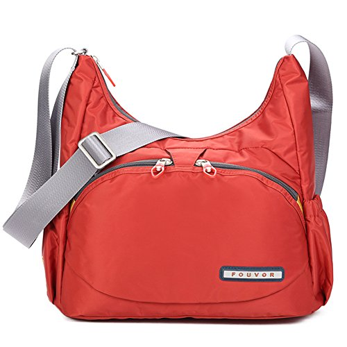 Red Nylon 258705 Multi Pocket Bag Crossbody Medium Oakarbo Orange 1wq0Td1a