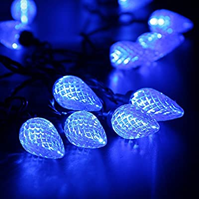 Brizled Faceted C9 LED String Lights, 25 LED 16 ft Christmas Lights, 120V UL Certified, for Indoor and Outdoor Decoration, Patios, and Christmas Tree