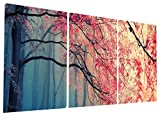 Image of Gardenia Art - Red Maples Canvas Prints Wall Art Stretched and Framed Modern Paintings Artwork for Living Room and Bedroom, 16x16 in, 3 pcs\set