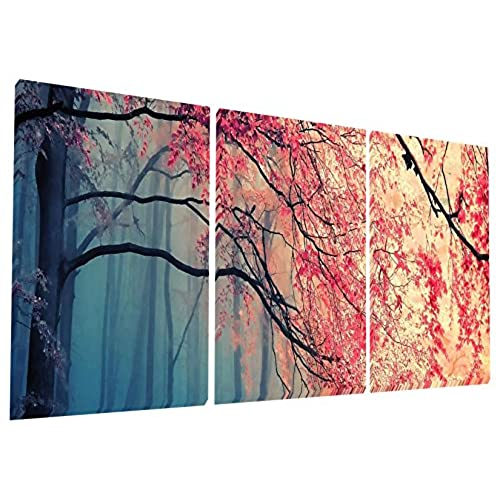 Gardenia Art   Red Maples Canvas Prints Wall Art Stretched And Framed  Modern Paintings Artwork For Living Room And Bedroom, 16x16 In, 3 Pcs\set